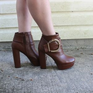Bamboo brown Ankle boots with buckle